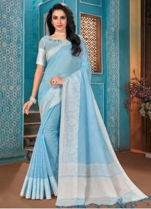 Linen Woven Designer Traditional Saree