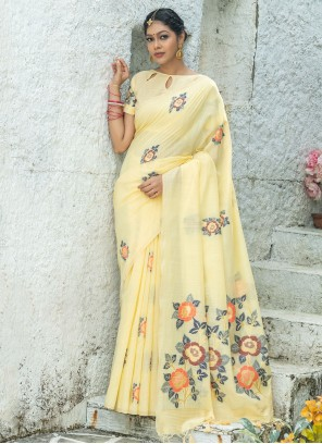 Linen Yellow Festival Printed Saree