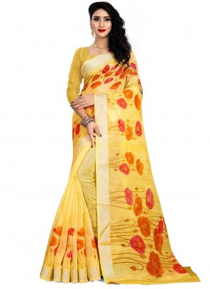 Linen Yellow Print Saree