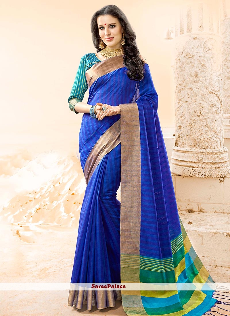 Lively Blue woven Work Cotton Silk Traditional  Saree