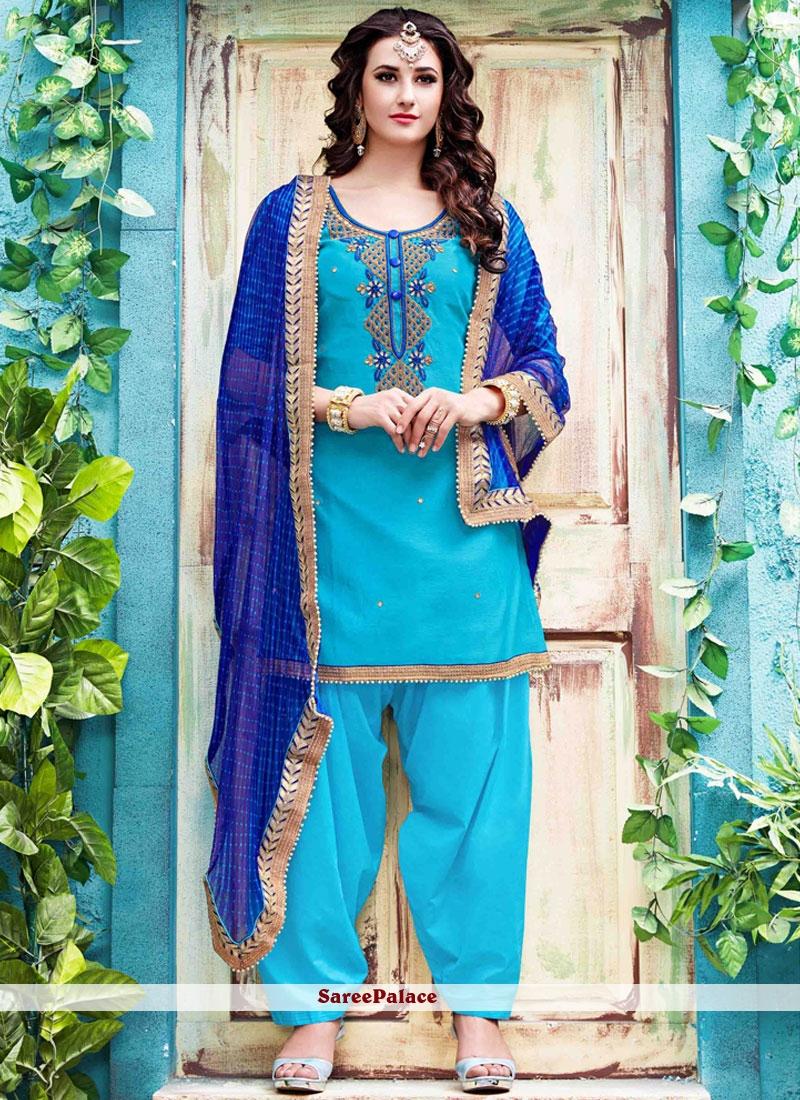 Buy Lively Chanderi Lace Work Punjabi Suit Online