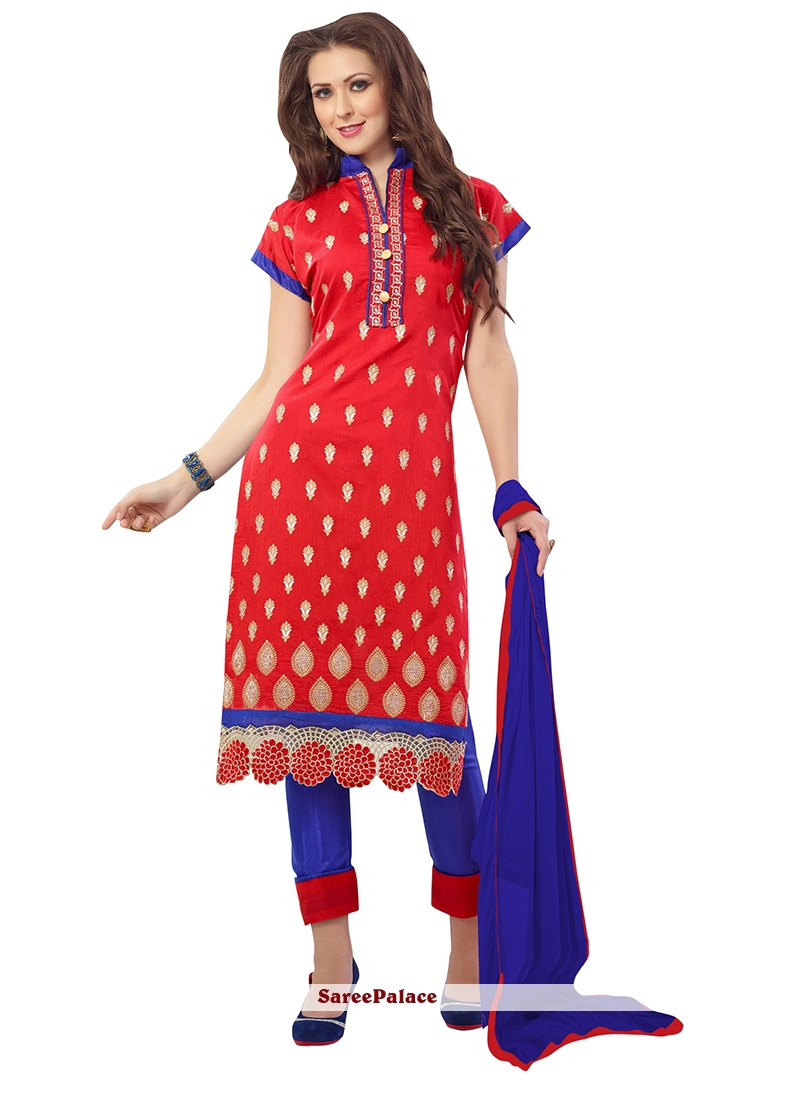 Lively Embroidered Work Churidar Suit
