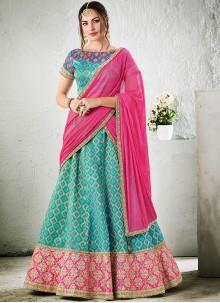Lively Jacquard Silk Lace Work Lehenga Choli