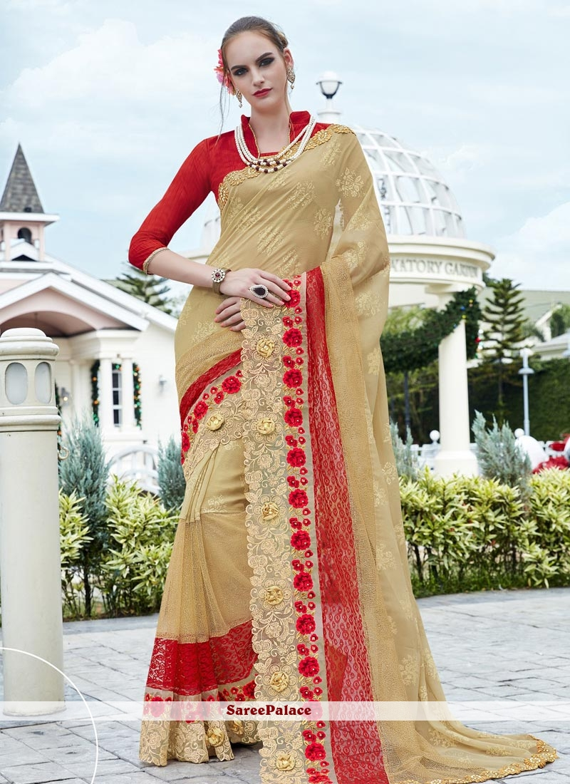 Lively Lace Work Saree