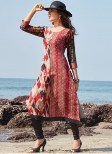 Lively Multi Colour Print Work Party Wear Kurti