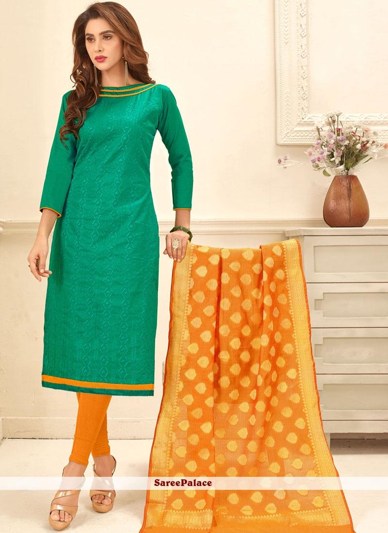 Lively Sea Green Print Work Churidar Suit