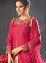 Long Choli Lehenga Resham Art Silk in Beige and Red
