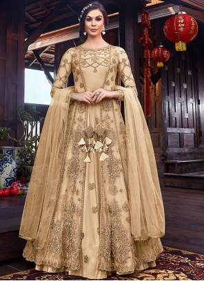 Long Length Anarkali Suit Embroidered Net in Cream
