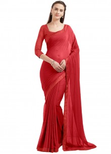 Lovable Faux Chiffon Red Casual Saree