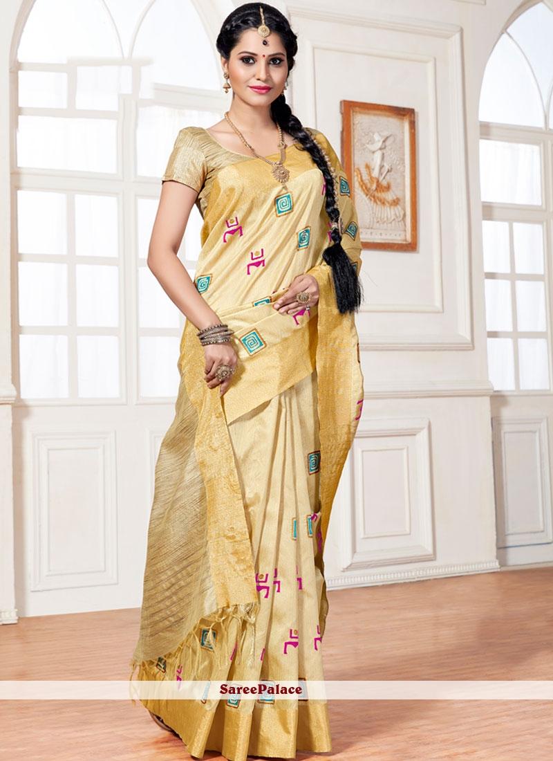 Lovely Art Silk Resham Work Traditional  Saree