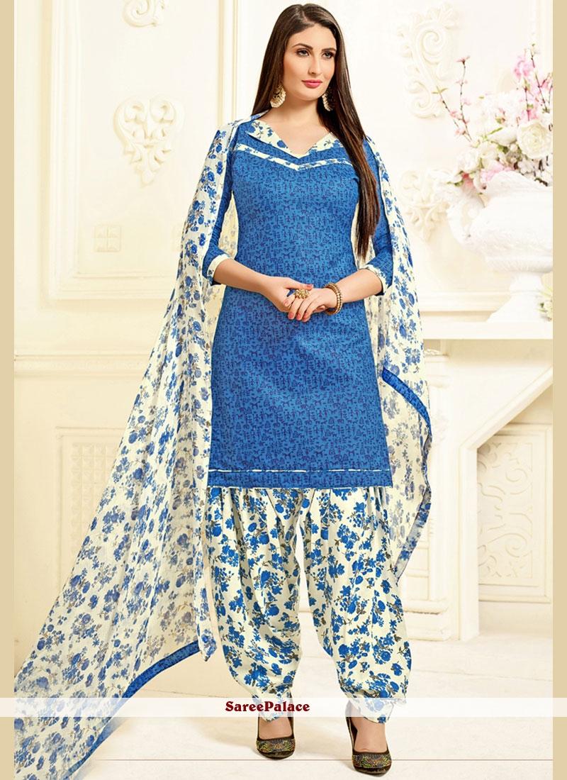 Buy Lovely Blue Patiala Salwar Kameez Online