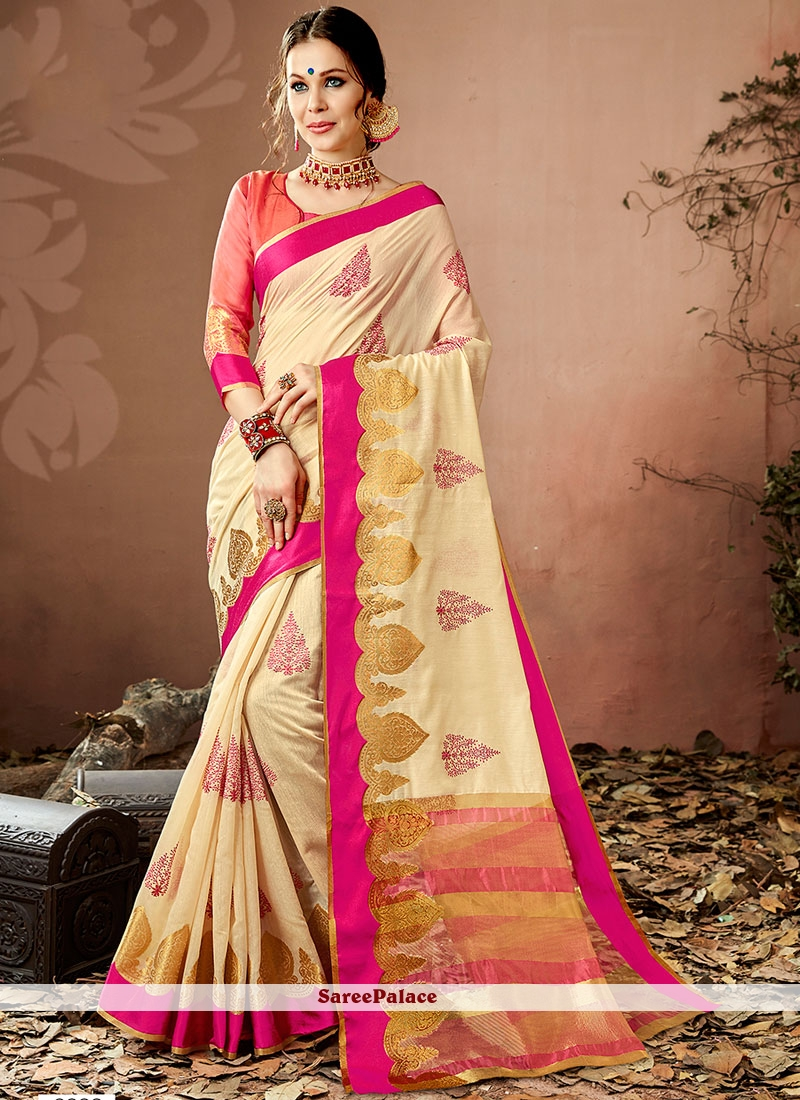 Lovely Cream and Pink Thread Work Work Traditional  Saree