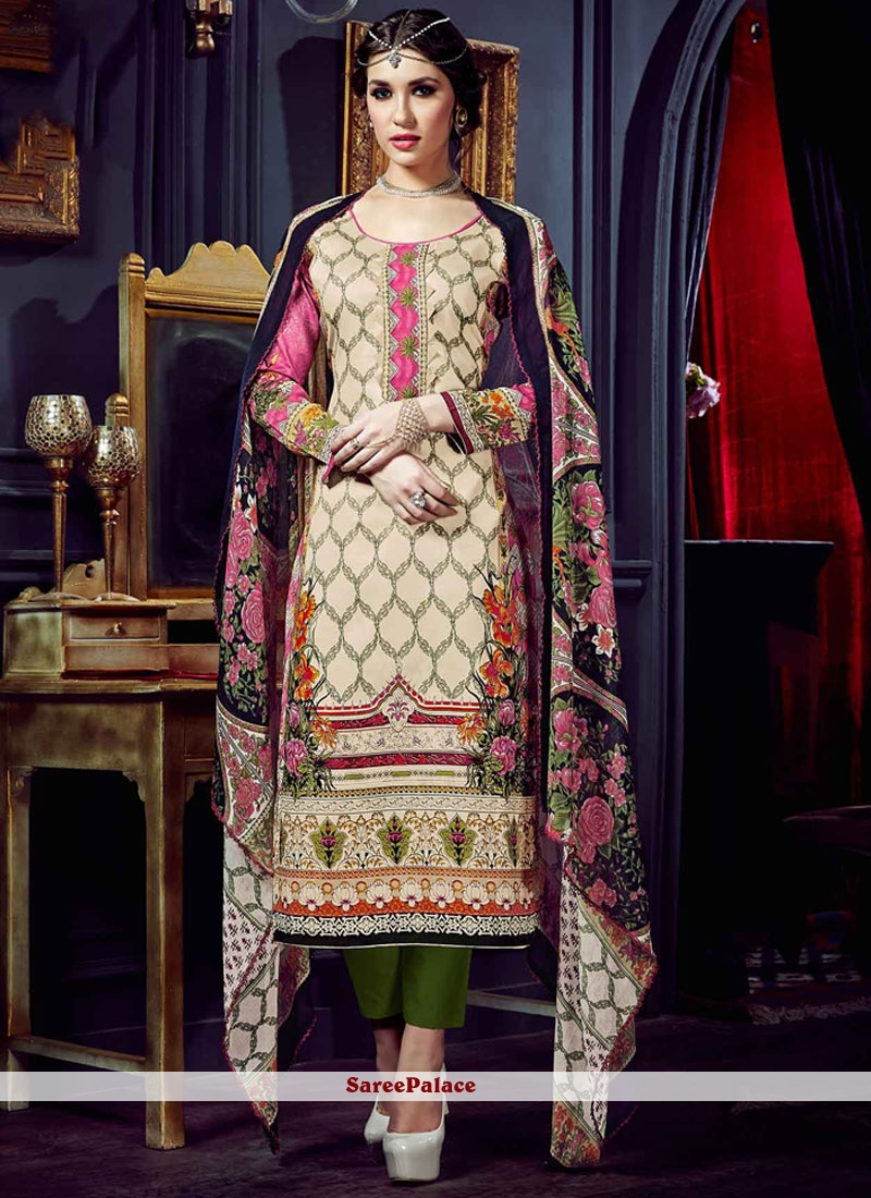 Lovely Digital Print Work Cotton Silk Pant Style Suit
