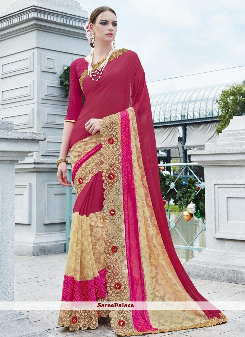 Lovely Faux Georgette Magenta Classic Designer Saree