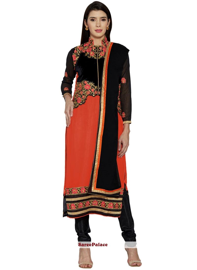 Lovely Faux Georgette Orange Lace Work Churidar Designer Suit