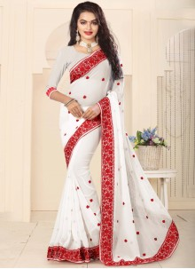 Lovely Faux Georgette White Classic Designer Saree