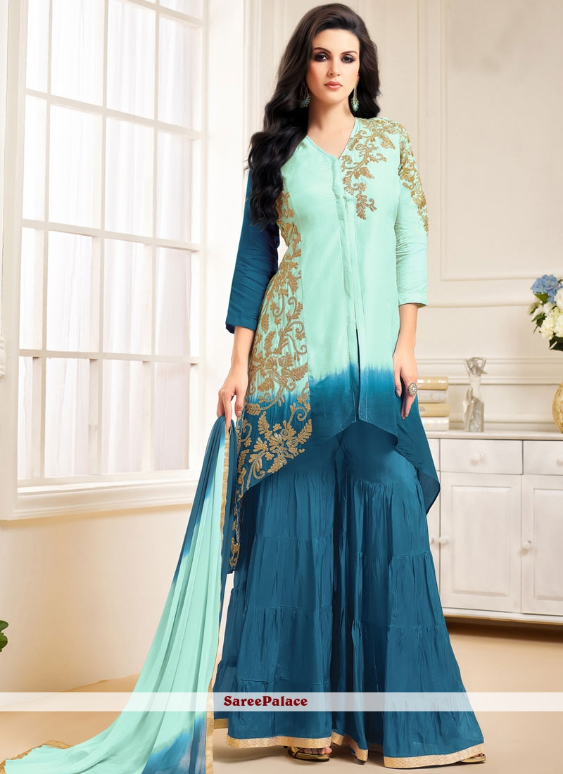 Buy Lovely Lace Work Banglori Silk Sea Green and Teal Designer ...
