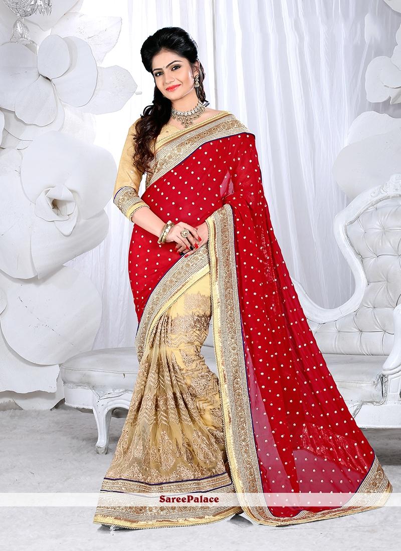 Lovely Net Resham Work Designer Half N Half Saree