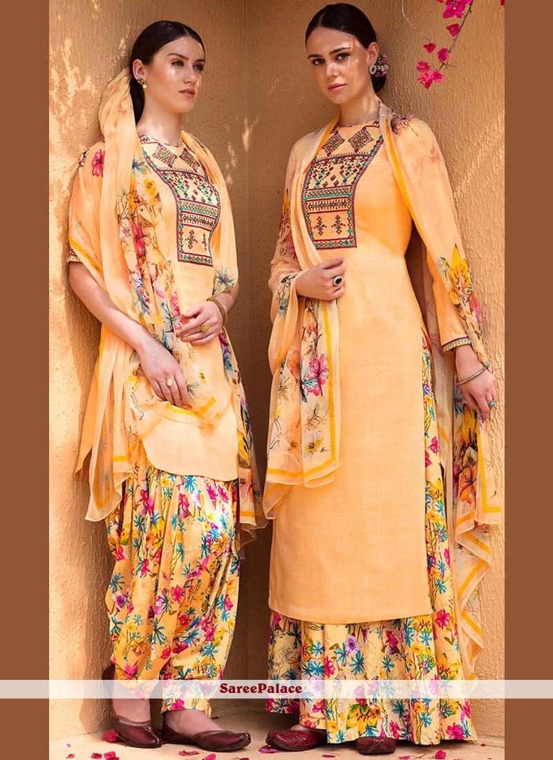 Lovely Print Work Yellow Cotton Satin Designer Suit