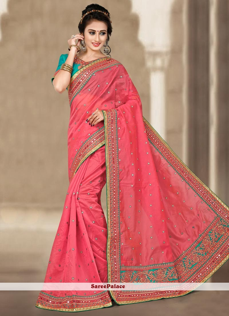 e2f444f2bec Buy Rose Pink Embroidered Chanderi Silk Saree Online