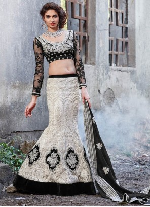 Luscious Off White Net Fish Cut Lehenga Choli