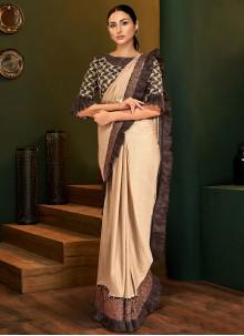 Lycra Beige Sequins Classic Saree