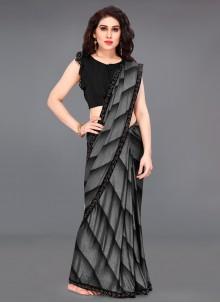 Lycra Black and Grey Border Printed Saree