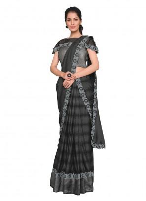 Lycra Black Designer Saree