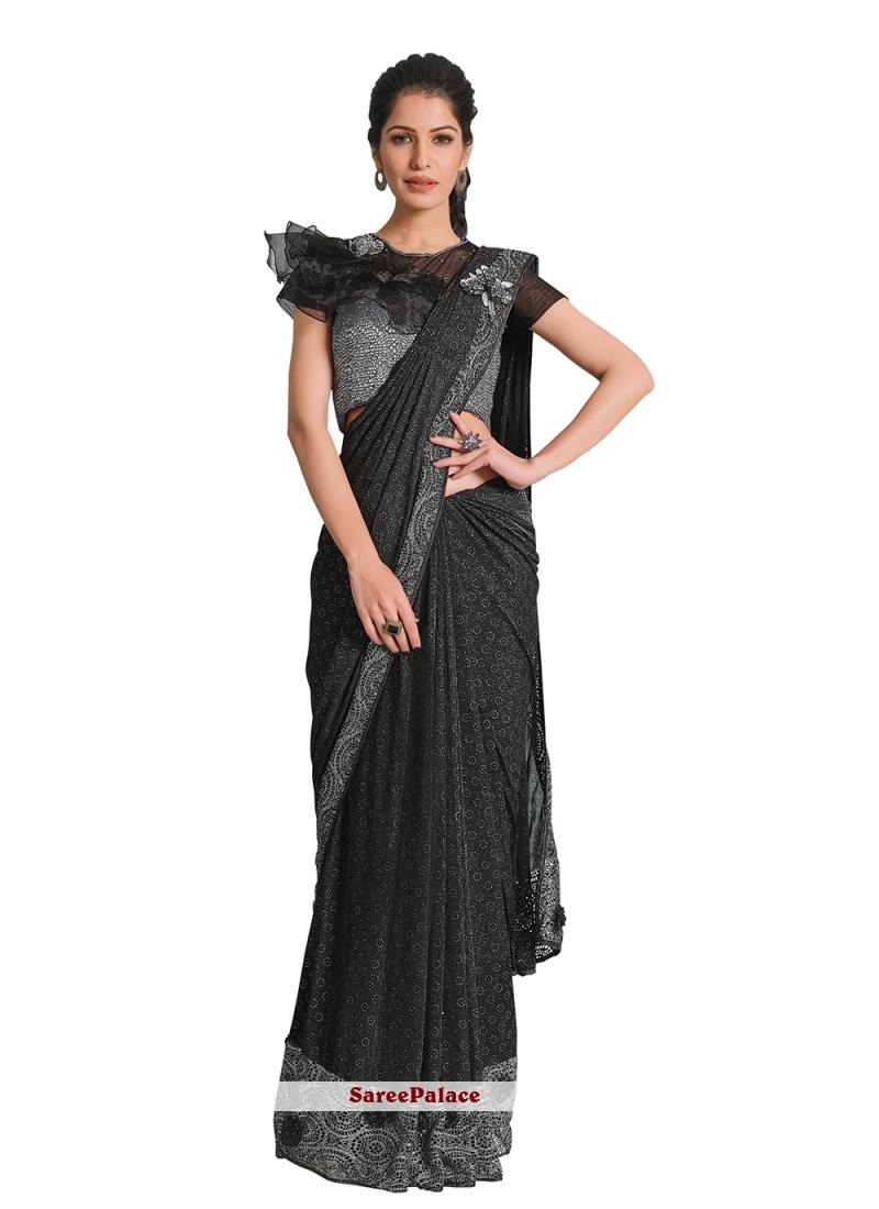 Lycra Black Handwork Designer Saree