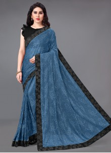 Lycra Blue Casual Saree