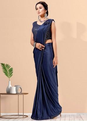 Lycra Blue Fancy Designer Saree