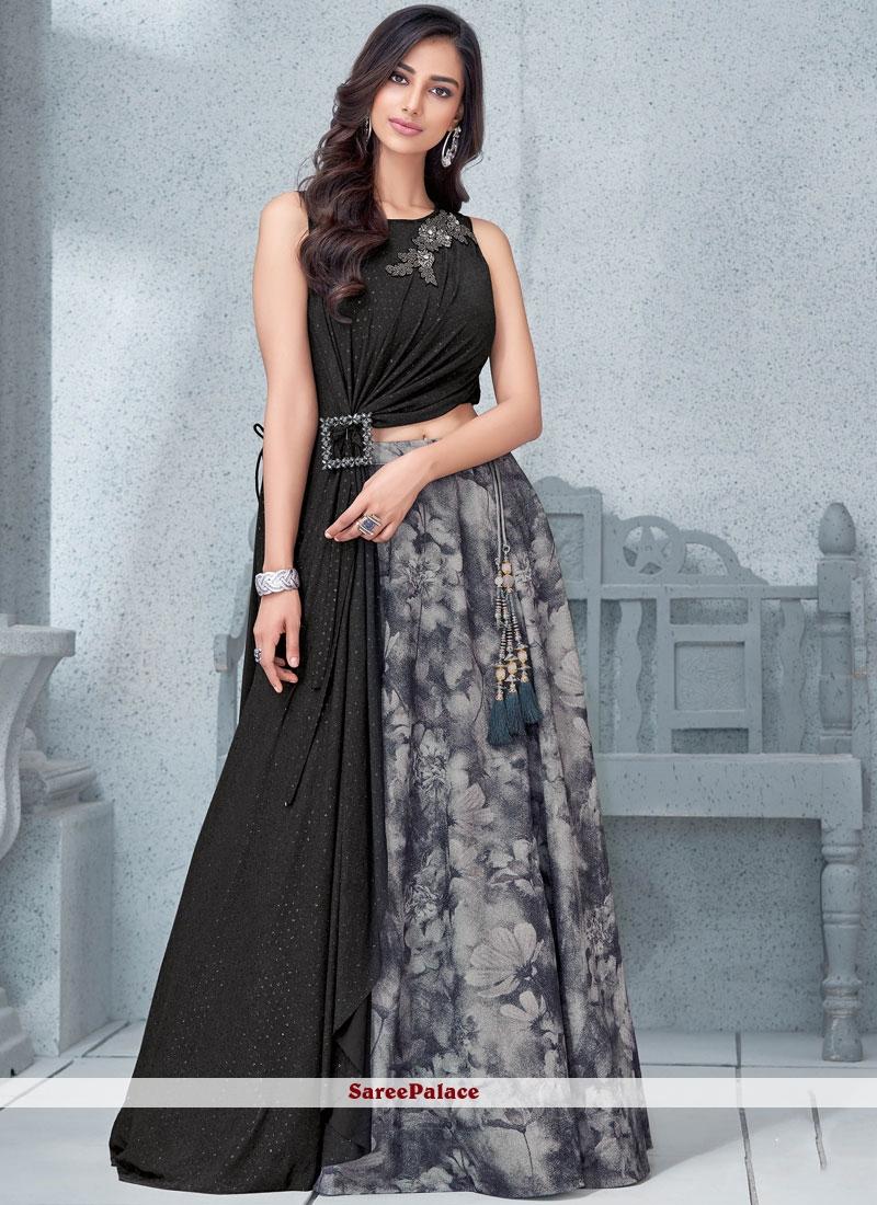 3d35e69de9 Buy Black Lycra Bridal Lehenga Choli Online