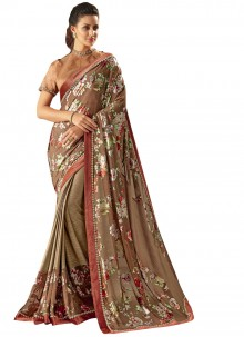 Lycra Brown and Peach Fancy Trendy Saree