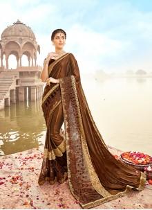 Lycra Brown Lace Trendy Saree