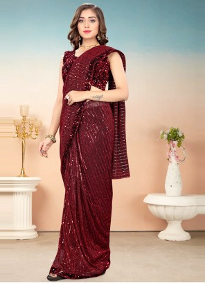 Lycra Sequins Work Designer Saree in Maroon