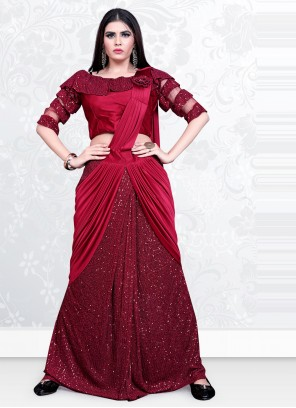 Maroon Lycra Designer Saree