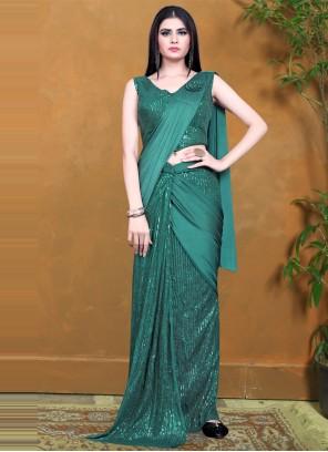 Green Lycra Designer Saree