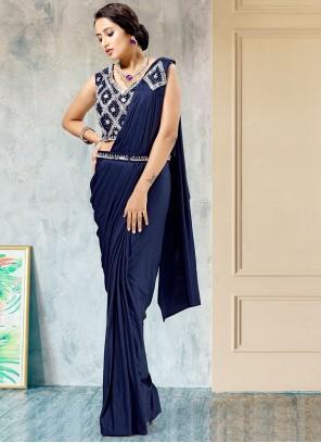 Blue Fancy Work Lycra Designer Saree