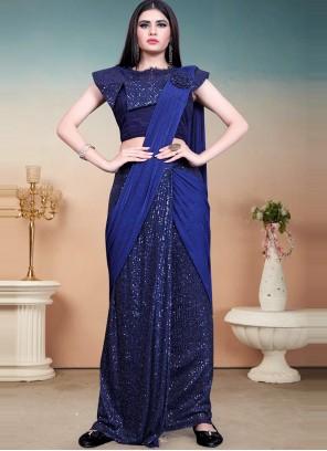 Lycra Designer Saree in Blue