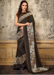 Lycra Designer Saree in Brown