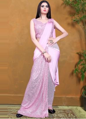 Lycra Designer Saree in Pink
