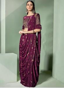 Lycra Embroidered Mauve  Designer Saree