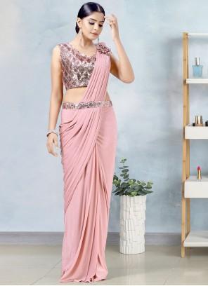 Lycra Fancy Pink Designer Saree