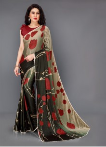 Lycra Floral Print Multi Colour Contemporary Saree