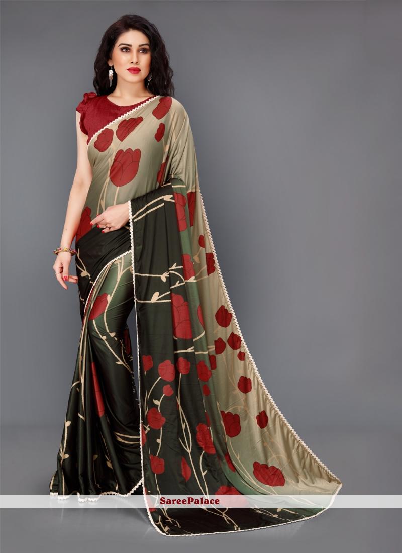Lycra Floral Print Multi Colour Contemporary Saree