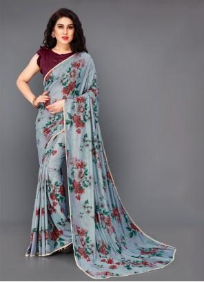 Lycra Floral Print Trendy Saree in Grey