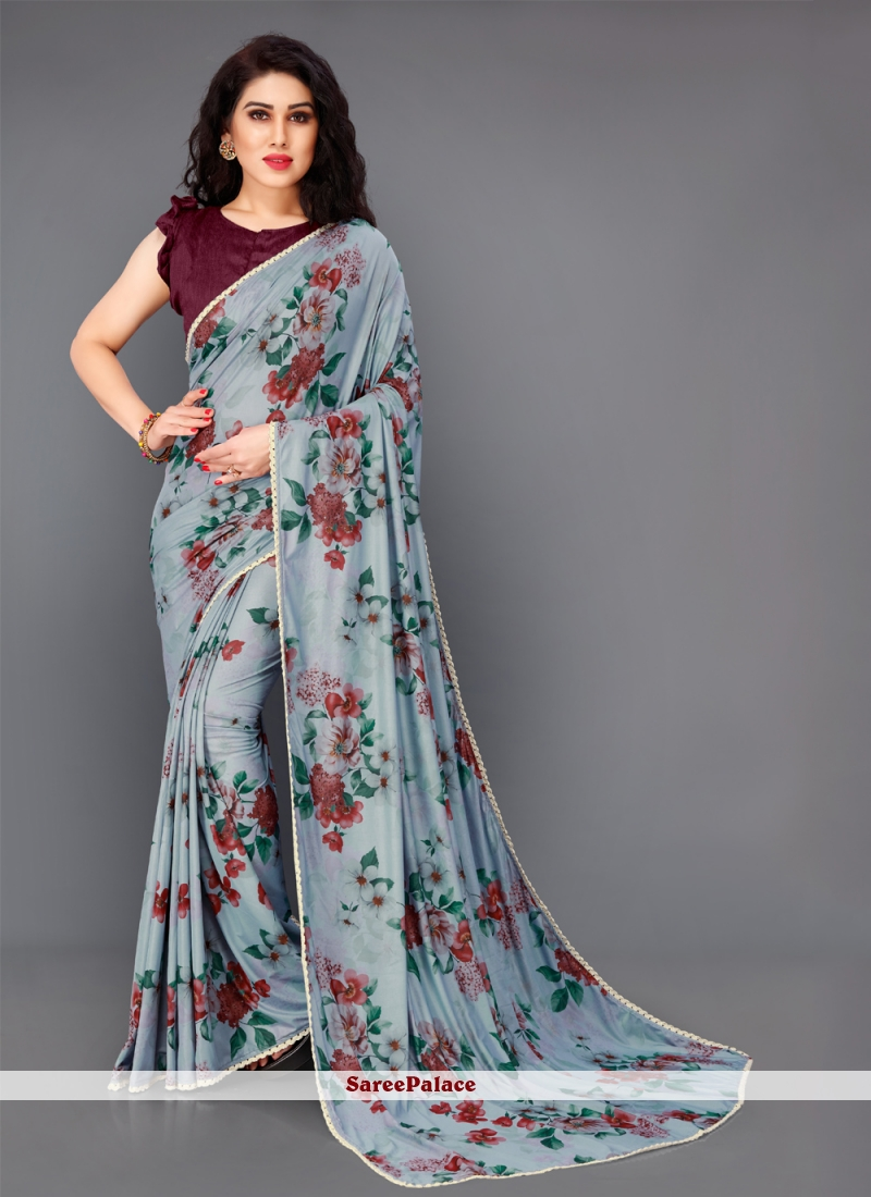 Lycra Floral Print Trendy Saree in Grey