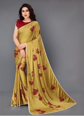 Lycra Gold Floral Print Trendy Saree