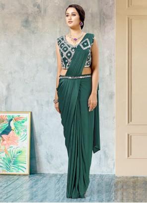 Lycra Green Fancy Work Designer Saree