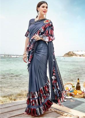 Lycra Grey Designer Saree